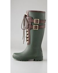 Tory Burch - Green Buckled Rubber Rain Boots - Lyst