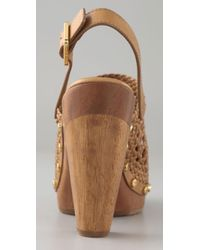 Tory Burch - Brown Widdianne Leather Clogs - Lyst