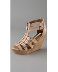 Twelfth Street Cynthia Vincent | Natural Jagger Zip Front Wedge Sandals | Lyst