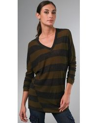 Vince | Green Inside Out Striped Sweater | Lyst