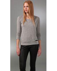 A.L.C. | Gray Split Seam Fleece Jumper | Lyst