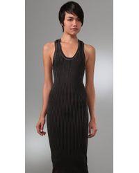 Alexander Wang - Black Sheer Rib Long Tank Dress - Lyst