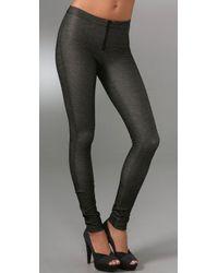 Alice + Olivia | Black Denim Style Leggings with Exposed Zip | Lyst