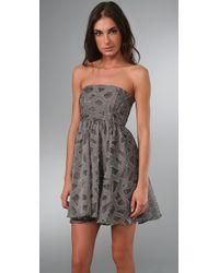Alice + Olivia | Gray Kristin Strapless Dress | Lyst
