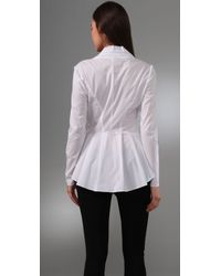 Catherine Malandrino - White Long Sleeve V Neck Blouse with Diamond - Lyst