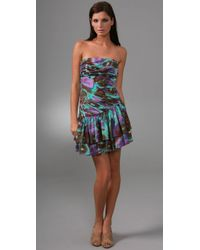 Catherine Malandrino | Multicolor Strapless Pleated Ruffle Dress | Lyst