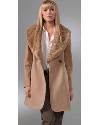 Club Monaco | Natural Vera Coat with Faux Fur Collar | Lyst