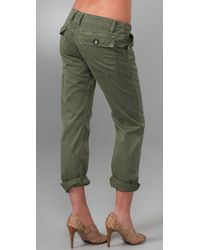 Current/Elliott - Green The Army Cotton Pants - Lyst