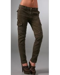 Current/Elliott - Green The Slouch Seamed Cargo Jeans - Lyst