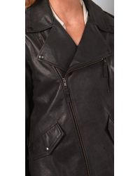 Elizabeth and James | Black Boyfriend Biker Leather Jacket | Lyst