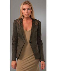Foley + Corinna - Green Studded Epaulet Jacket - Lyst