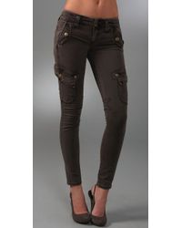 Free People | Brown Skinny Cargo Utility Pants | Lyst