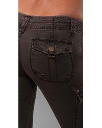 Free People | Brown Skinny Cargo Utility Pants | Lyst