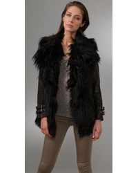 GAR-DE | Black Joffre Curly Fur Coat with Leather Sleeves | Lyst
