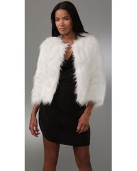 Halston | White Faux Goat Short Fur Coat In Bianca | Lyst
