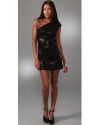 Halston | Black Asymmetric Sequin Mini Dress | Lyst
