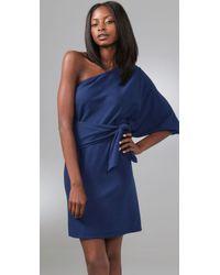 Halston - Blue One Shoulder Wrap Dress - Lyst