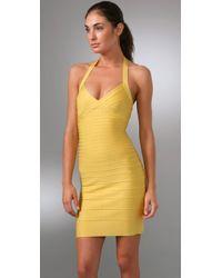 Hervé Léger - Yellow Signature Essentials Halter Cocktail Dress - Lyst