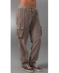 James Perse | Gray Drawstring Cargo Pants | Lyst