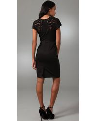 Lela Rose | Black Beaded Tulle-top Dress | Lyst