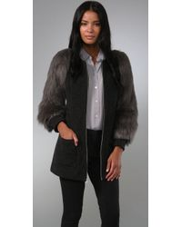 Loeffler Randall | Gray Faux Fur Sleeve Coat | Lyst