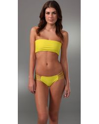 Mikoh Swimwear | Yellow Corsica String Back Bikini Top | Lyst