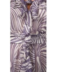 MILLY - Purple Knotted Cascade Dress - Lyst