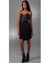 Rag & Bone - Black Francis Leather and Linen-blend Dress - Lyst