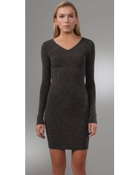 T By Alexander Wang | Gray Fitted Tee Dress | Lyst