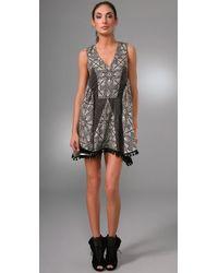 Thakoon | Black Patchwork Dress with Pom Pom Trim | Lyst