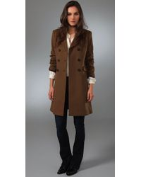 Theory | Brown Double Breasted Coat | Lyst