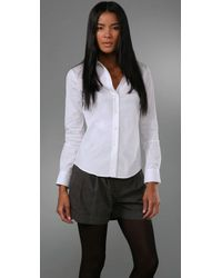 Theory | White Larissa Button Front Shirt | Lyst