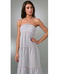 Thread Social - Gray Striped Seersucker Maxi Dress - Lyst