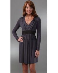 Three Dots - Gray Shirred Dress with Elastic Detail - Lyst