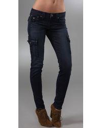 True Religion | Blue Krista Super Skinny Cargo Leggings | Lyst