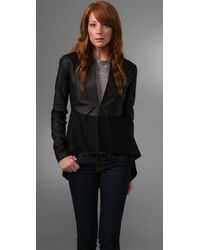 VEDA | Black Leather Sleeve Coat | Lyst