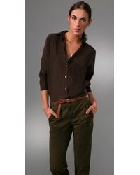 Vince | Brown 3/4 Sleeve Blouse | Lyst