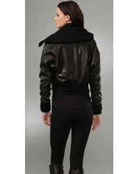 Vince | Black Leather Jacket with Sweater Trim | Lyst