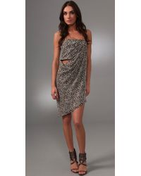Willow | Gray Print Strapless Sarong Dress | Lyst