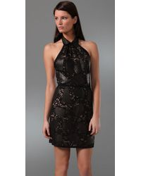 3.1 Phillip Lim | Black Halter Lace Dress with Leather Collar | Lyst
