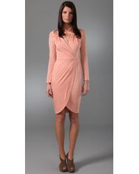3.1 Phillip Lim | Pink Cross Collar Faux Wrap Dress | Lyst