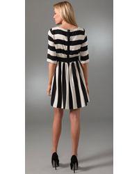 Alice + Olivia | Black Striped Emmie Dress | Lyst