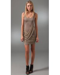 Alice + Olivia - Brown Tank Dress with Draped Skirt - Lyst