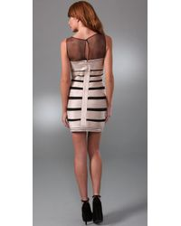 BCBGMAXAZRIA | Gold Stretch Satin Dress with Tulle | Lyst