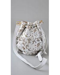 CC SKYE | White The Nika Lace Leather Pouchette | Lyst