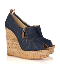 Christian Louboutin | Blue Deroba 140 Denim Peep-toe Wedges | Lyst