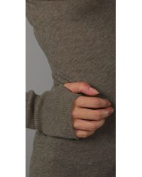 Enza Costa - Green Cotton Cashmere Sweater with Thumbholes - Lyst