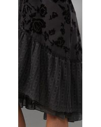 Free People - Gray Tie Back Rose Dress - Lyst