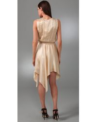 Halston - Natural Handkerchief Dress - Lyst