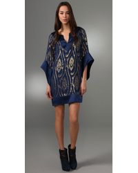 Halston | Blue Jacquard Dress | Lyst
